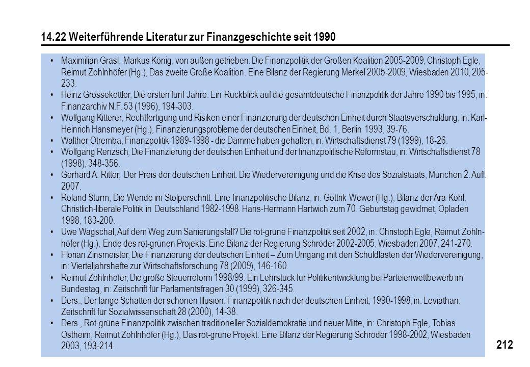 212 14.22 Weiterführende Literatur zur Finanzgeschichte seit 1990 Maximilian Grasl, Markus König, von außen getrieben. Die Finanzpolitik der Großen Ko