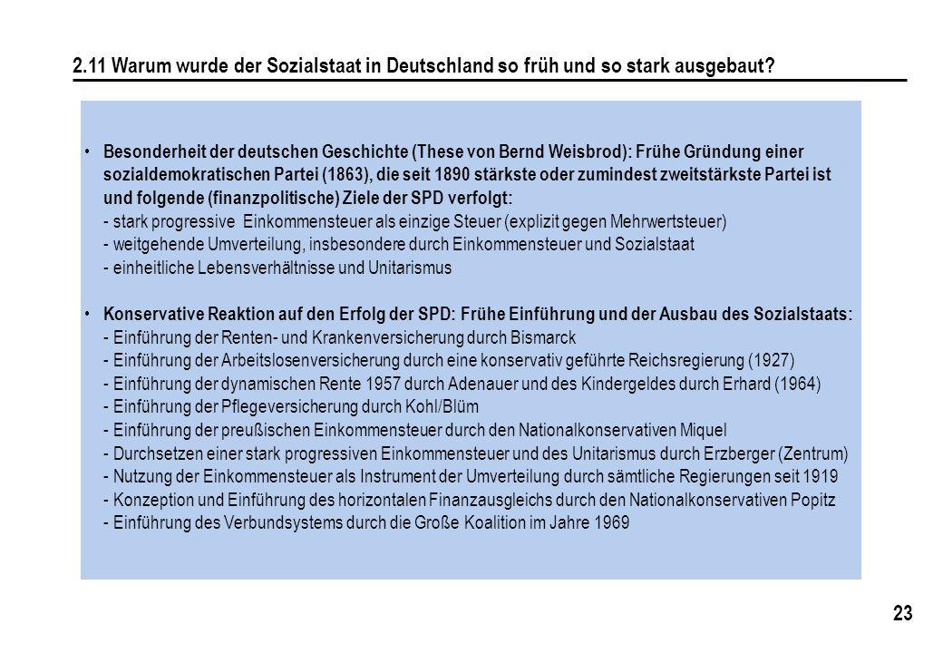 23 2.11 Warum wurde der Sozialstaat in Deutschland so früh und so stark ausgebaut? Besonderheit der deutschen Geschichte (These von Bernd Weisbrod): F