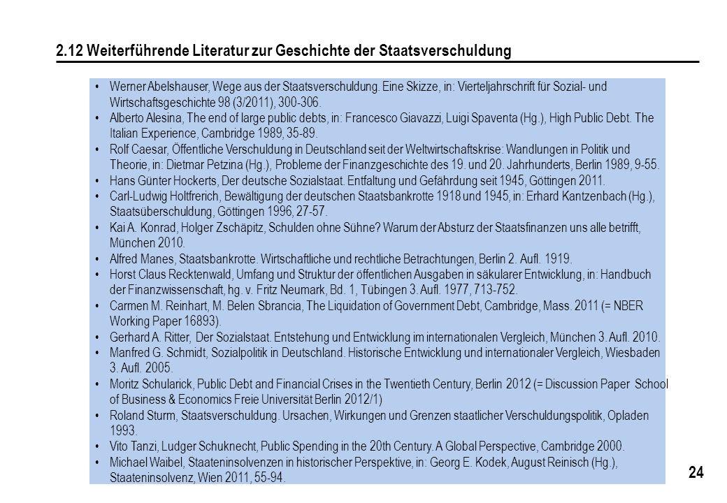 24 2.12 Weiterführende Literatur zur Geschichte der Staatsverschuldung Werner Abelshauser, Wege aus der Staatsverschuldung. Eine Skizze, in: Viertelja