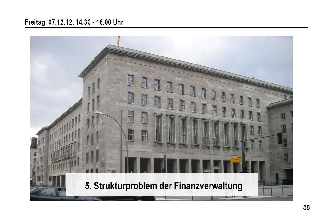 58 Freitag, 07.12.12, 14.30 - 16.00 Uhr 5. Strukturproblem der Finanzverwaltung