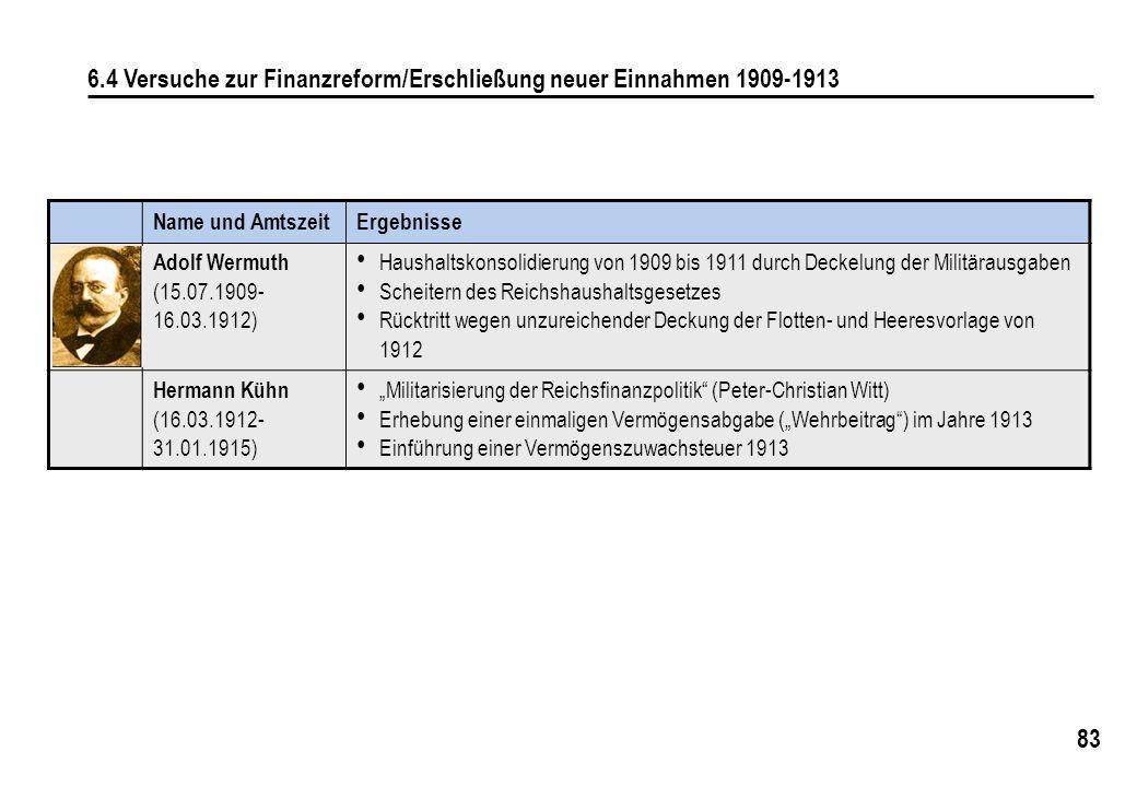 83 6.4 Versuche zur Finanzreform/Erschließung neuer Einnahmen 1909-1913 Name und AmtszeitErgebnisse Adolf Wermuth (15.07.1909- 16.03.1912) Haushaltskonsolidierung von 1909 bis 1911 durch Deckelung der Militärausgaben Scheitern des Reichshaushaltsgesetzes Rücktritt wegen unzureichender Deckung der Flotten- und Heeresvorlage von 1912 Hermann Kühn (16.03.1912- 31.01.1915) Militarisierung der Reichsfinanzpolitik (Peter-Christian Witt) Erhebung einer einmaligen Vermögensabgabe (Wehrbeitrag) im Jahre 1913 Einführung einer Vermögenszuwachsteuer 1913