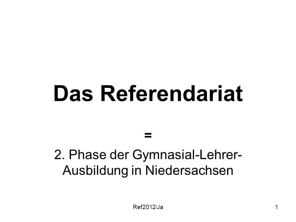 Ref2012/Ja1 Das Referendariat = 2. Phase der Gymnasial-Lehrer- Ausbildung in Niedersachsen