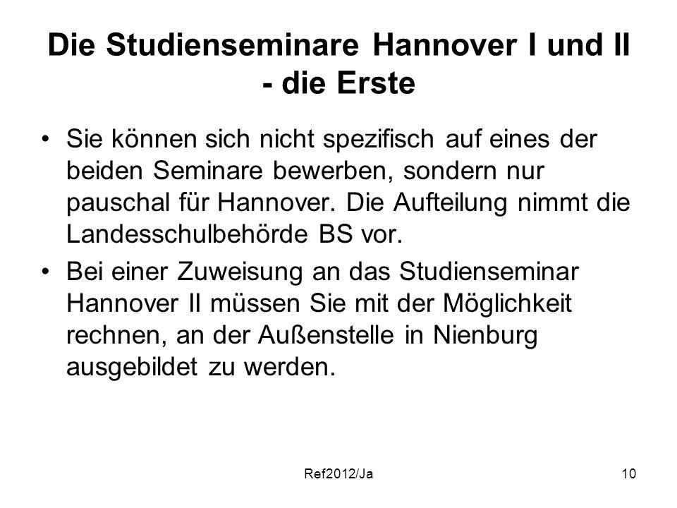 Ref2012/Ja10 Die Studienseminare Hannover I und II - die Erste Sie können sich nicht spezifisch auf eines der beiden Seminare bewerben, sondern nur pa
