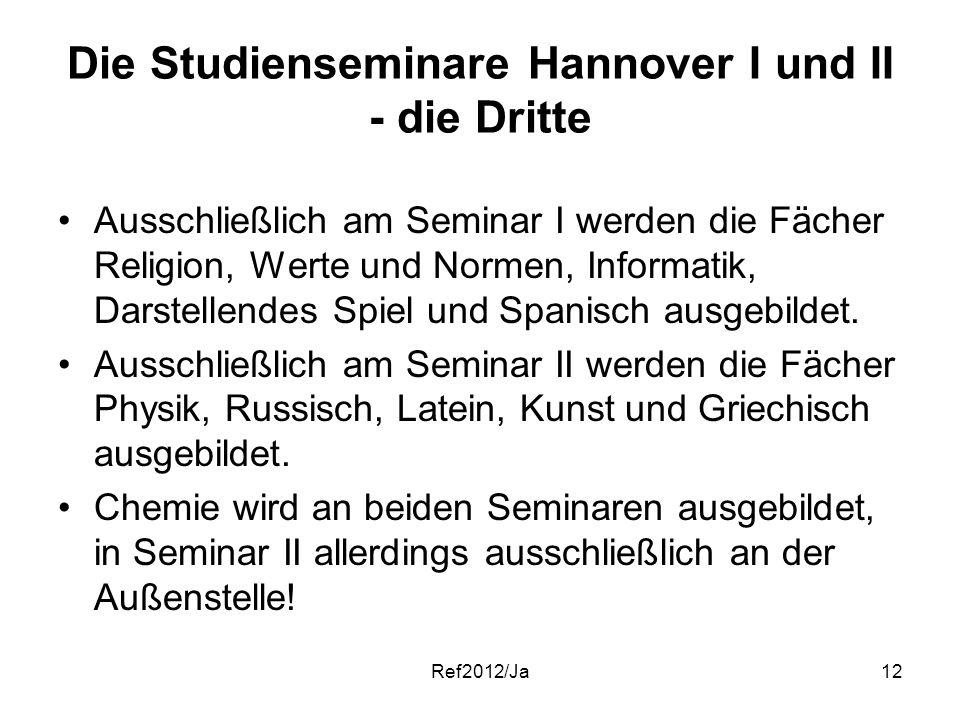 Ref2012/Ja12 Die Studienseminare Hannover I und II - die Dritte Ausschließlich am Seminar I werden die Fächer Religion, Werte und Normen, Informatik,