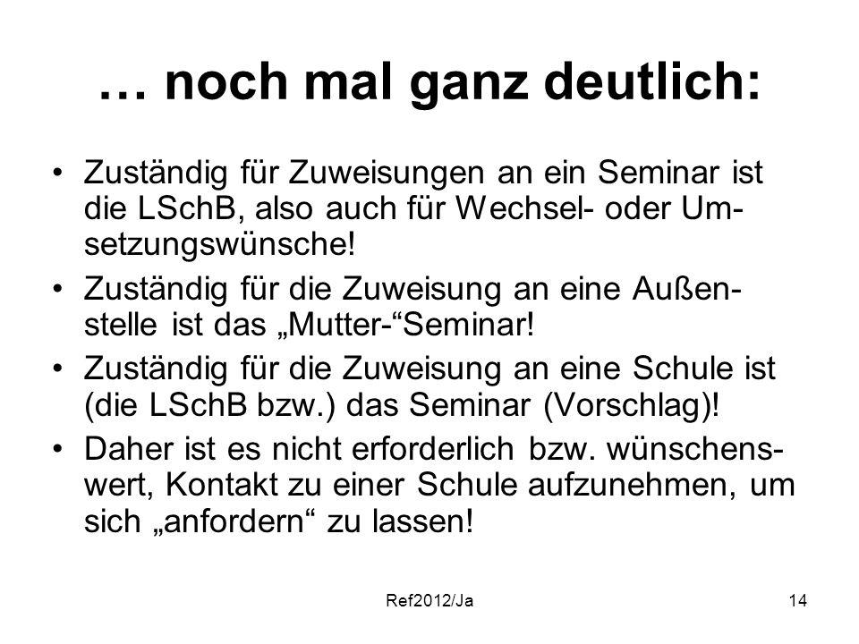 Ref2012/Ja14 … noch mal ganz deutlich: Zuständig für Zuweisungen an ein Seminar ist die LSchB, also auch für Wechsel- oder Um- setzungswünsche! Zustän