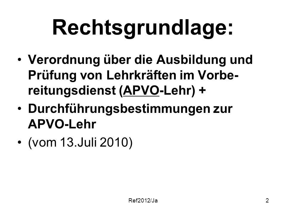 Ref2012/Ja2 Rechtsgrundlage: Verordnung über die Ausbildung und Prüfung von Lehrkräften im Vorbe- reitungsdienst (APVO-Lehr) + Durchführungsbestimmung
