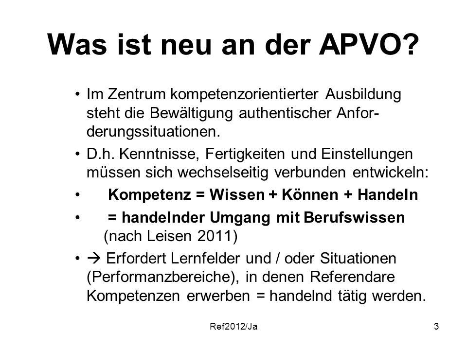 Ref2012/Ja3 Was ist neu an der APVO? Im Zentrum kompetenzorientierter Ausbildung steht die Bewältigung authentischer Anfor- derungssituationen. D.h. K