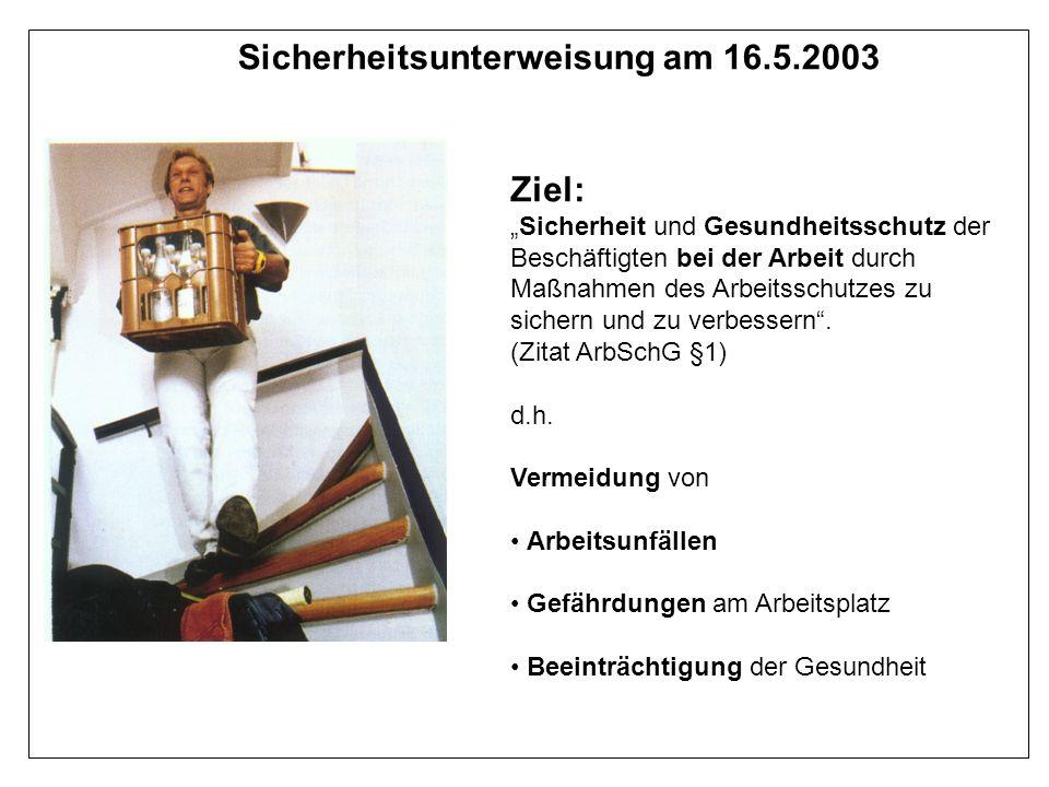Sicherheitsunterweisung am 16.5.2003 Ziel: Sicherheit und Gesundheitsschutz der Beschäftigten bei der Arbeit durch Maßnahmen des Arbeitsschutzes zu si