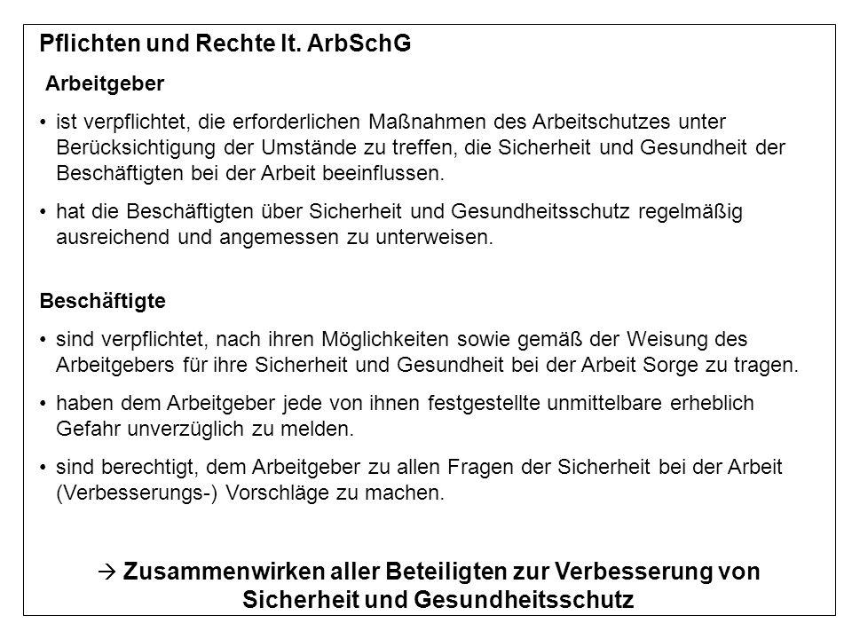 Pflichten und Rechte lt. ArbSchG Arbeitgeber ist verpflichtet, die erforderlichen Maßnahmen des Arbeitschutzes unter Berücksichtigung der Umstände zu