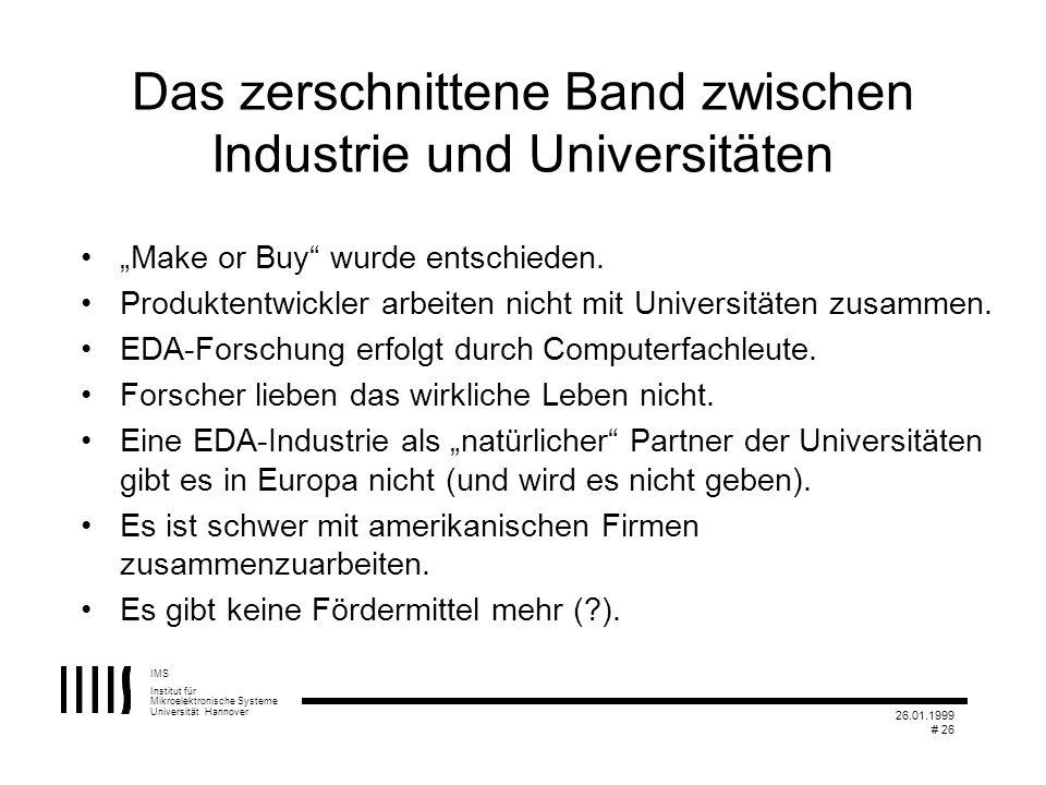 IMS Institut für Mikroelektronische Systeme Universität Hannover 26.01.1999 # 26 Das zerschnittene Band zwischen Industrie und Universitäten Make or B