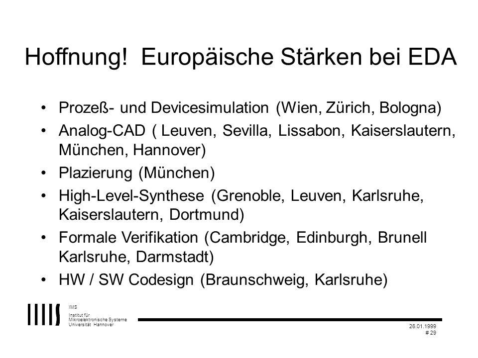 IMS Institut für Mikroelektronische Systeme Universität Hannover 26.01.1999 # 29 Hoffnung! Europäische Stärken bei EDA Prozeß- und Devicesimulation (W