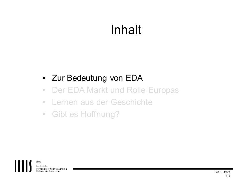 IMS Institut für Mikroelektronische Systeme Universität Hannover 26.01.1999 # 3 Inhalt Zur Bedeutung von EDA Der EDA Markt und Rolle Europas Lernen au