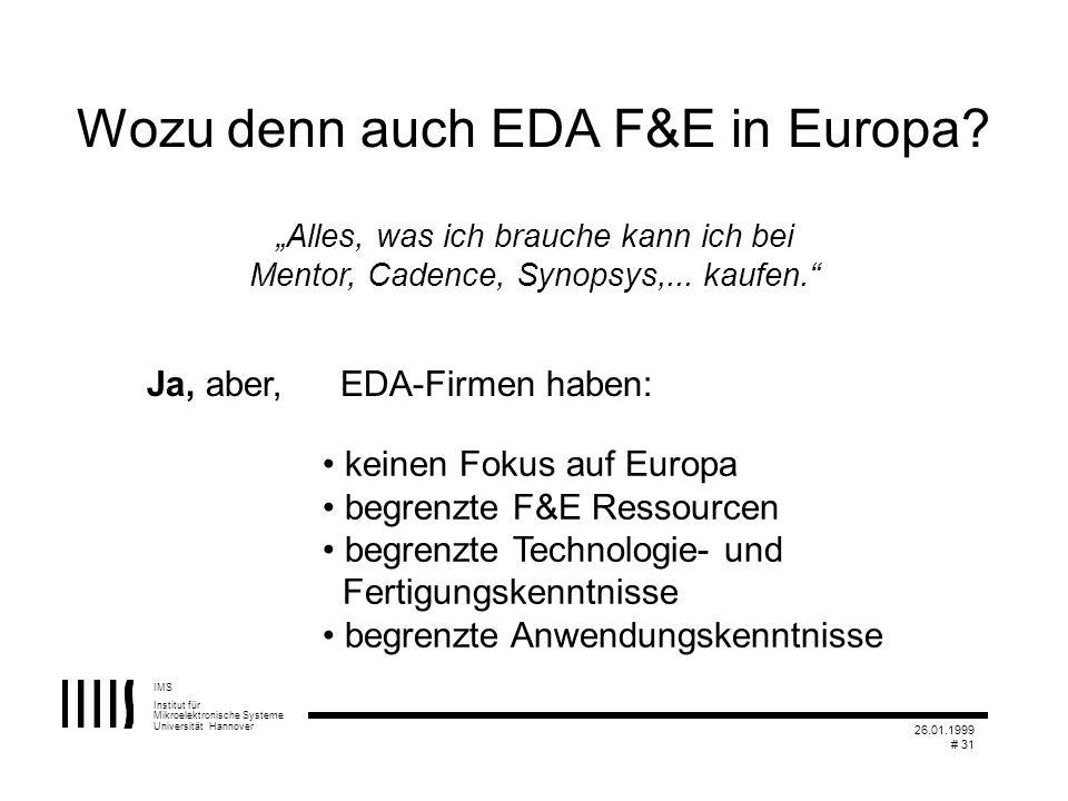 IMS Institut für Mikroelektronische Systeme Universität Hannover 26.01.1999 # 31 Alles, was ich brauche kann ich bei Mentor, Cadence, Synopsys,... kau