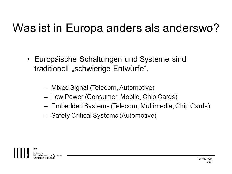 IMS Institut für Mikroelektronische Systeme Universität Hannover 26.01.1999 # 33 Was ist in Europa anders als anderswo? Europäische Schaltungen und Sy