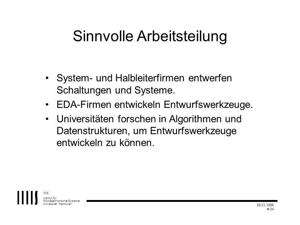 IMS Institut für Mikroelektronische Systeme Universität Hannover 26.01.1999 # 34 Sinnvolle Arbeitsteilung System- und Halbleiterfirmen entwerfen Schal