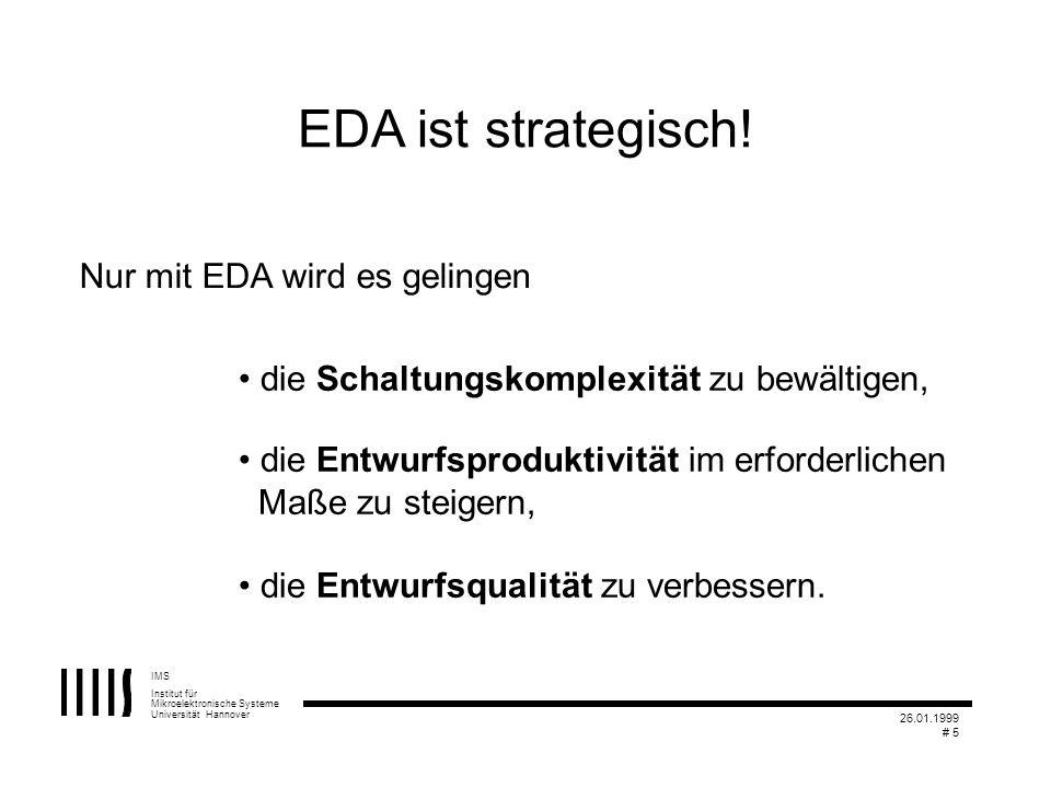 IMS Institut für Mikroelektronische Systeme Universität Hannover 26.01.1999 # 5 EDA ist strategisch! Nur mit EDA wird es gelingen die Schaltungskomple
