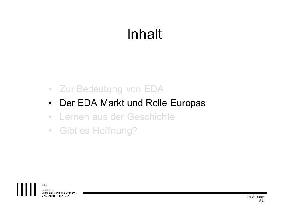 IMS Institut für Mikroelektronische Systeme Universität Hannover 26.01.1999 # 6 Inhalt Zur Bedeutung von EDA Der EDA Markt und Rolle Europas Lernen au