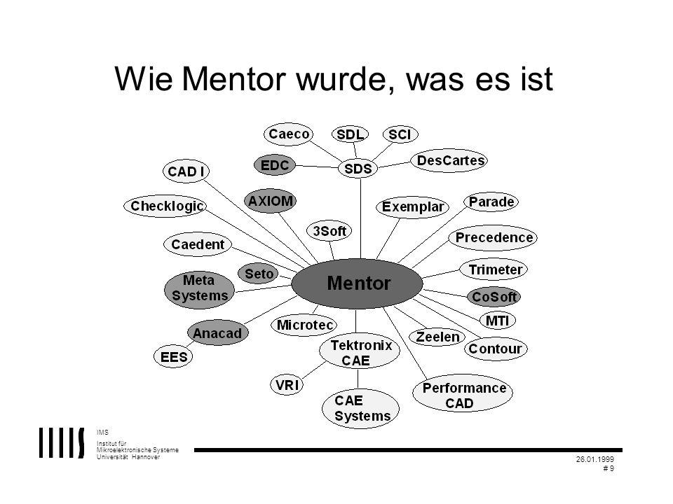 IMS Institut für Mikroelektronische Systeme Universität Hannover 26.01.1999 # 9 Wie Mentor wurde, was es ist