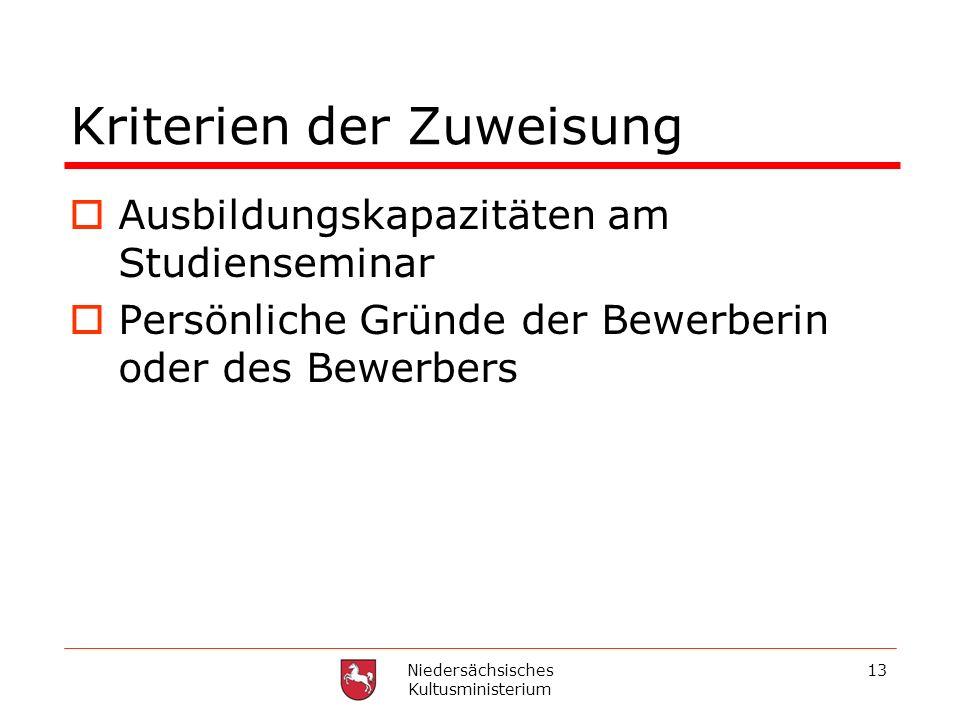 Niedersächsisches Kultusministerium 13 Kriterien der Zuweisung Ausbildungskapazitäten am Studienseminar Persönliche Gründe der Bewerberin oder des Bew