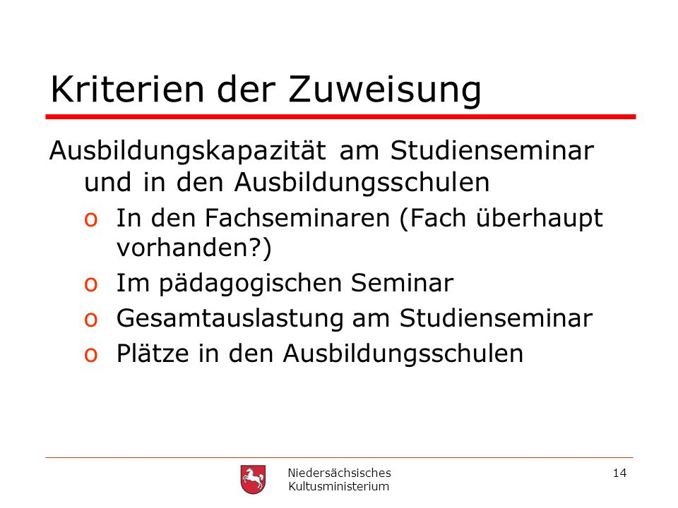 Niedersächsisches Kultusministerium 14 Kriterien der Zuweisung Ausbildungskapazität am Studienseminar und in den Ausbildungsschulen oIn den Fachsemina