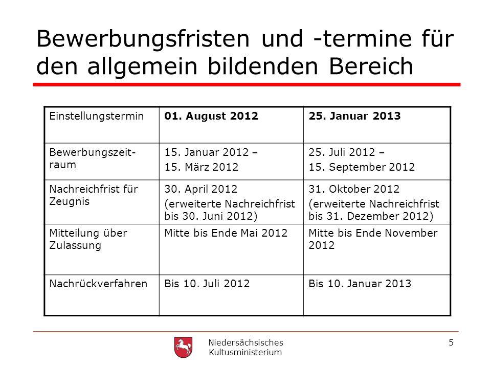 Niedersächsisches Kultusministerium 5 Bewerbungsfristen und -termine für den allgemein bildenden Bereich Einstellungstermin01. August 201225. Januar 2
