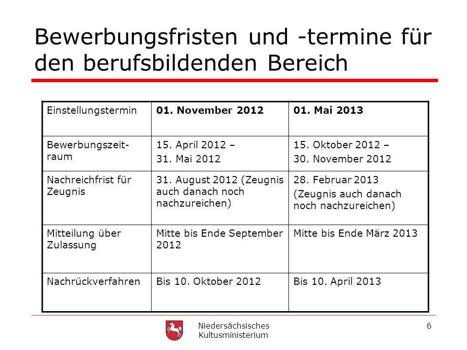 Niedersächsisches Kultusministerium 6 Bewerbungsfristen und -termine für den berufsbildenden Bereich Einstellungstermin01. November 201201. Mai 2013 B