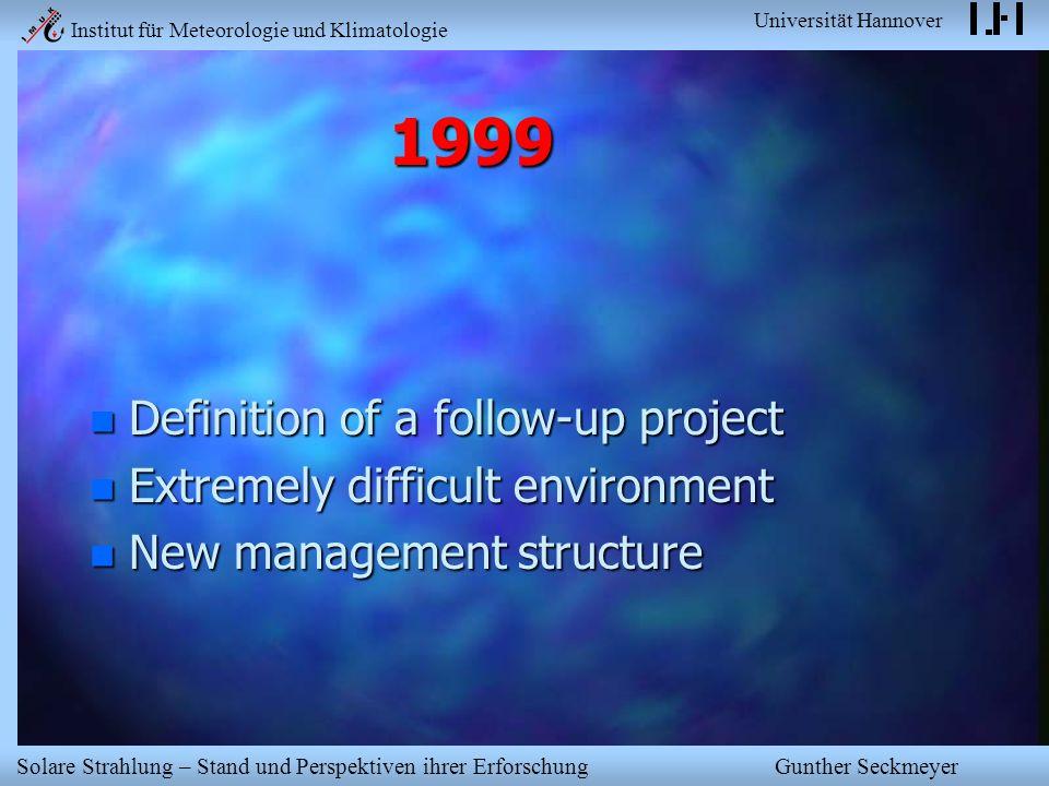 Institut für Meteorologie und Klimatologie Universität Hannover Solare Strahlung – Stand und Perspektiven ihrer Erforschung Gunther Seckmeyer 1999 n D