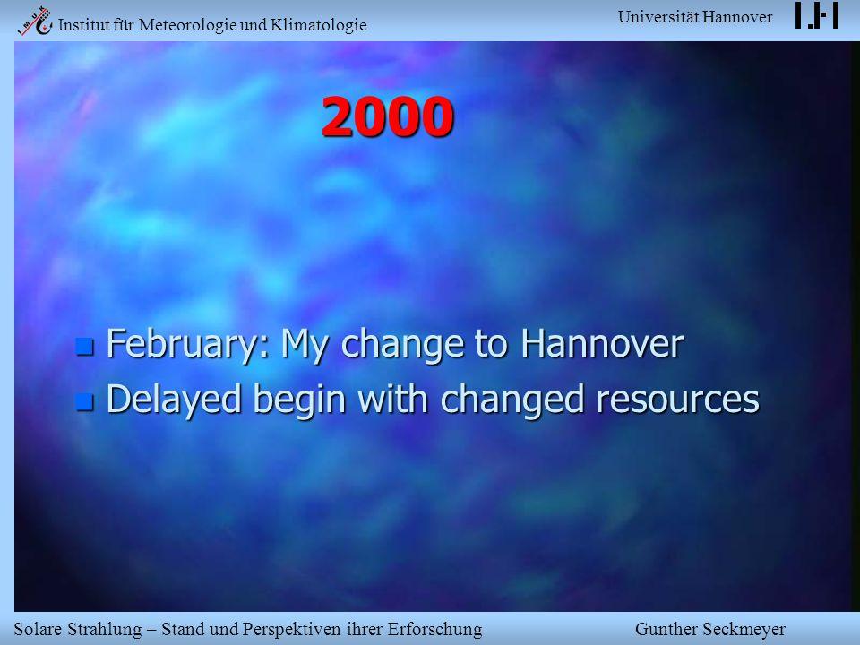 Institut für Meteorologie und Klimatologie Universität Hannover Solare Strahlung – Stand und Perspektiven ihrer Erforschung Gunther Seckmeyer 2000 n F
