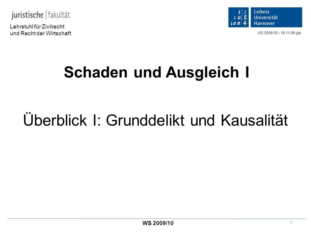 Schaden und Ausgleich I Überblick I: Grunddelikt und Kausalität Lehrstuhl für Zivilrecht und Recht der Wirtschaft WS 2009/10 WS 2009/10 – 18.11.09-gie 1