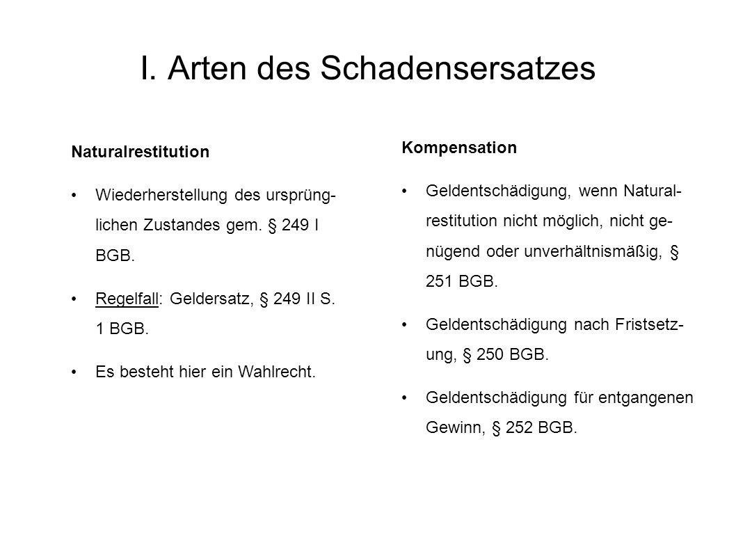 II.Arten des Schadensersatzes Hauptarten Naturalrestitution, § 249 I BGB.