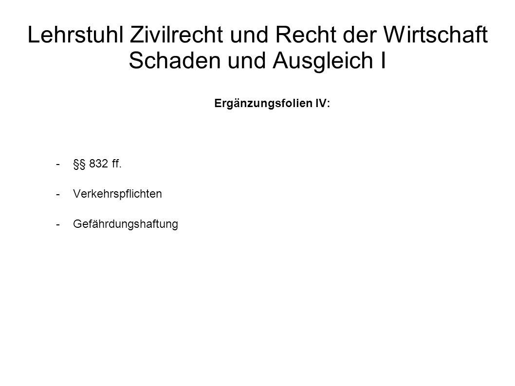 Lehrstuhl Zivilrecht und Recht der Wirtschaft Schaden und Ausgleich I Ergänzungsfolien IV: -§§ 832 ff. -Verkehrspflichten -Gefährdungshaftung