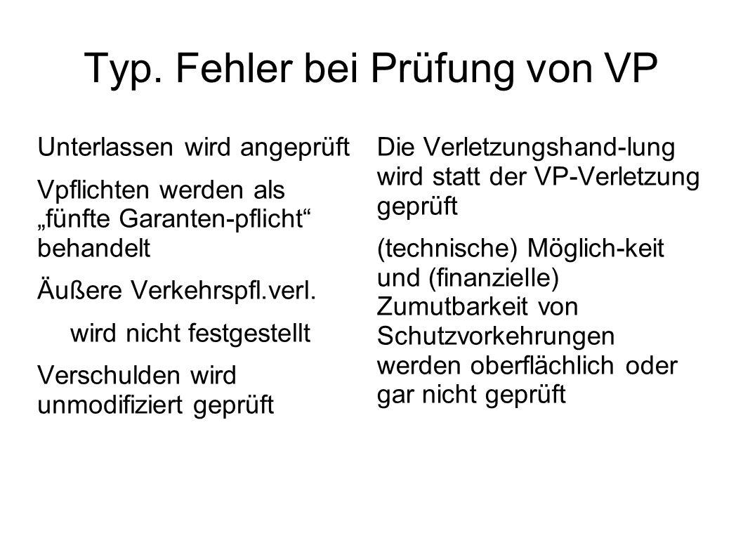 Typ. Fehler bei Prüfung von VP Unterlassen wird angeprüft Vpflichten werden als fünfte Garanten-pflicht behandelt Äußere Verkehrspfl.verl. wird nicht