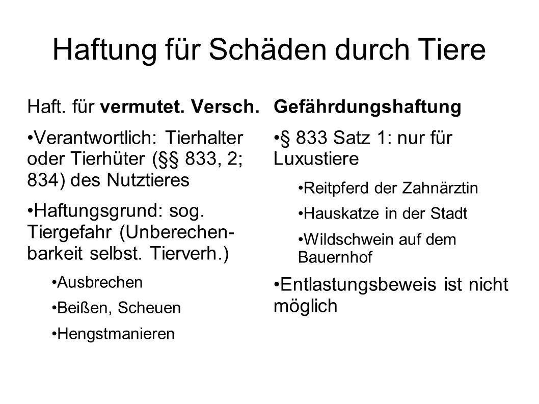 Haftung für Schäden durch Tiere Haft. für vermutet. Versch. Verantwortlich: Tierhalter oder Tierhüter (§§ 833, 2; 834) des Nutztieres Haftungsgrund: s