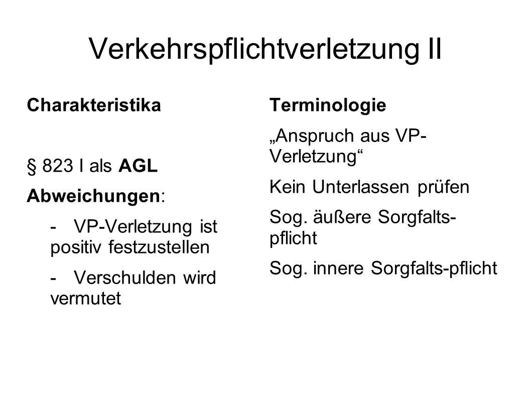 Verkehrspflichtverletzung II Charakteristika § 823 I als AGL Abweichungen: - VP-Verletzung ist positiv festzustellen -Verschulden wird vermutet Termin