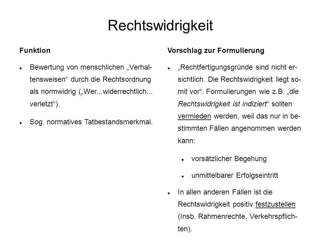 Rechtswidrigkeit Funktion Bewertung von menschlichen Verhal- tensweisen durch die Rechtsordnung als normwidrig (Wer...widerrechtlich... verletzt). Sog