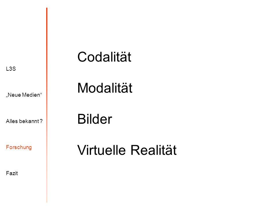 L3S Alles bekannt ? Neue Medien Forschung Fazit Codalität Modalität Virtuelle Realität Bilder