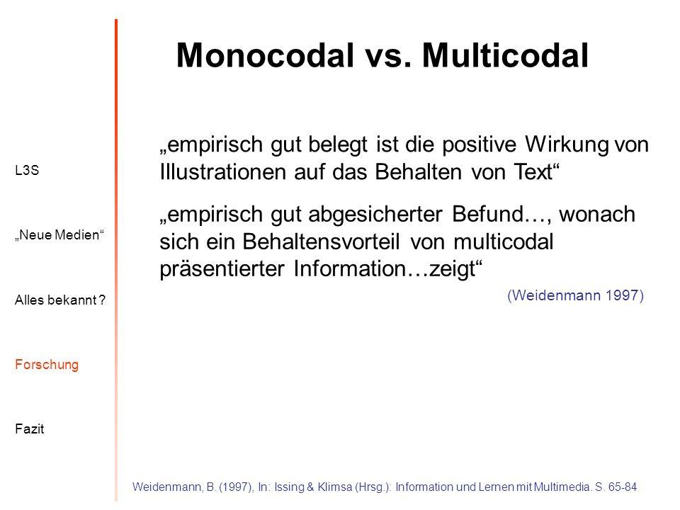 L3S Alles bekannt ? Neue Medien Forschung Fazit Monocodal vs. Multicodal Weidenmann, B. (1997), In: Issing & Klimsa (Hrsg.): Information und Lernen mi