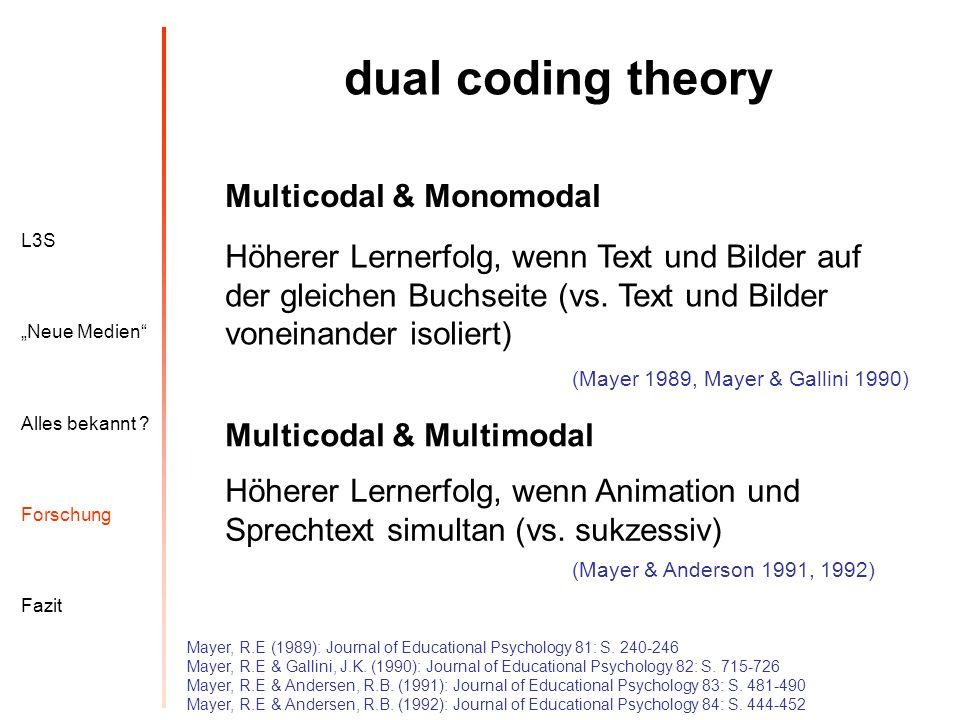 L3S Alles bekannt ? Neue Medien Forschung Fazit dual coding theory Mayer, R.E (1989): Journal of Educational Psychology 81: S. 240-246 Mayer, R.E & Ga