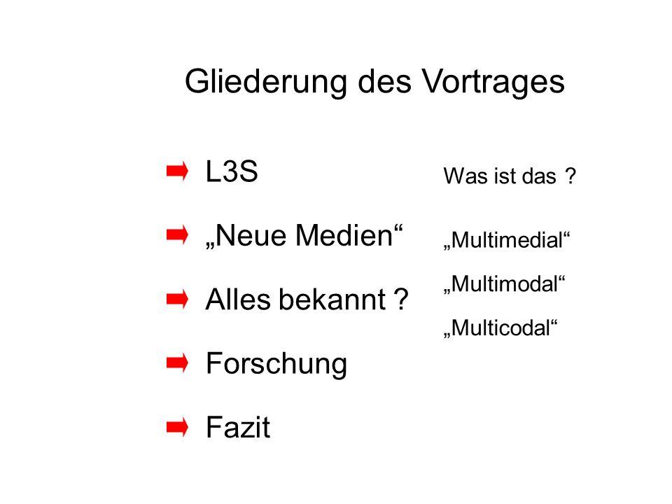 Gliederung des Vortrages L3S Alles bekannt ? Neue Medien Forschung Fazit Was ist das ? Multimedial Multimodal Multicodal