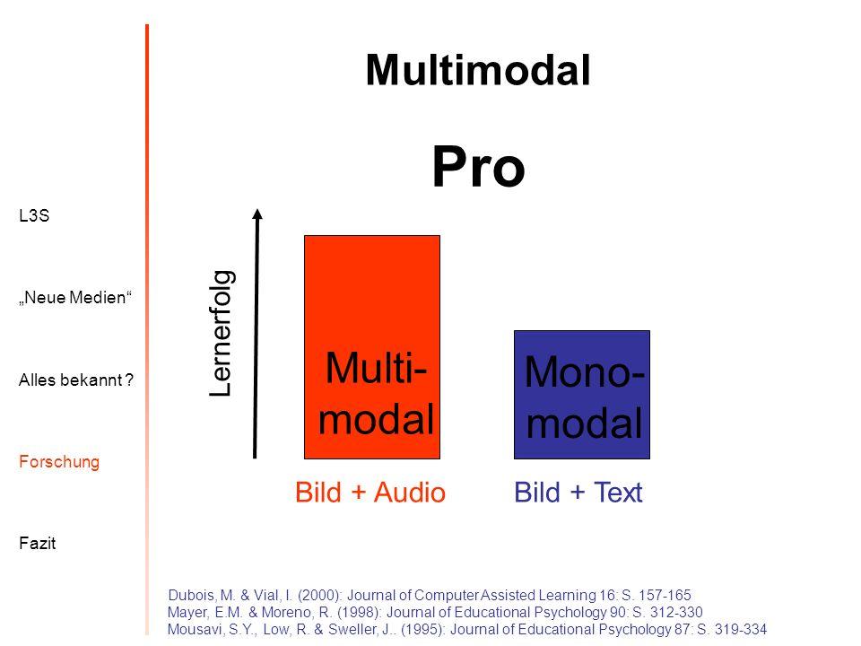L3S Alles bekannt ? Neue Medien Forschung Fazit Multimodal Pro Bild + AudioBild + Text Lernerfolg Dubois, M. & Vial, I. (2000): Journal of Computer As
