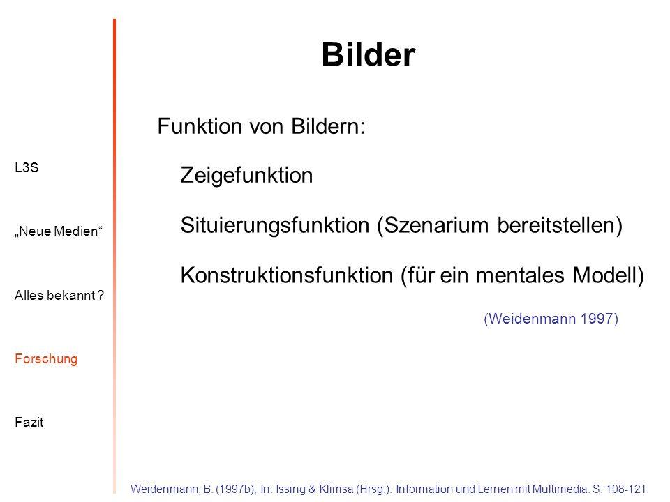 L3S Alles bekannt ? Neue Medien Forschung Fazit Bilder (Weidenmann 1997) Funktion von Bildern: Weidenmann, B. (1997b), In: Issing & Klimsa (Hrsg.): In