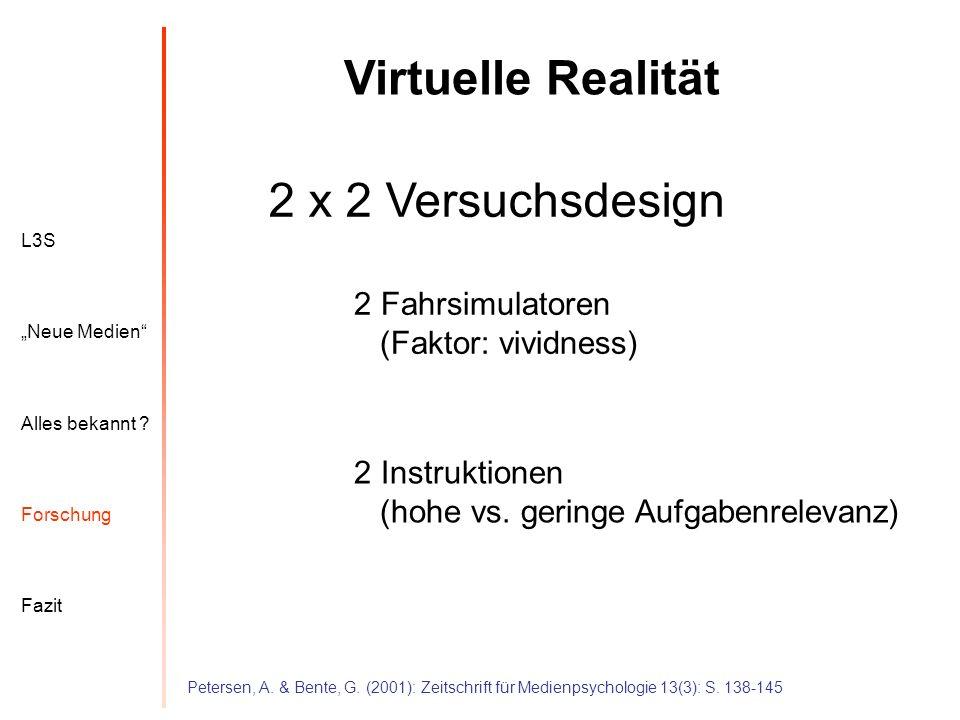 L3S Alles bekannt ? Neue Medien Forschung Fazit Virtuelle Realität Petersen, A. & Bente, G. (2001): Zeitschrift für Medienpsychologie 13(3): S. 138-14