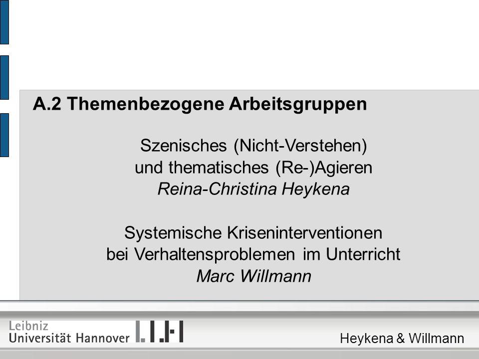A.2 Themenbezogene Arbeitsgruppen Szenisches (Nicht-Verstehen) und thematisches (Re-)Agieren Reina-Christina Heykena Systemische Kriseninterventionen bei Verhaltensproblemen im Unterricht Marc Willmann Heykena & Willmann