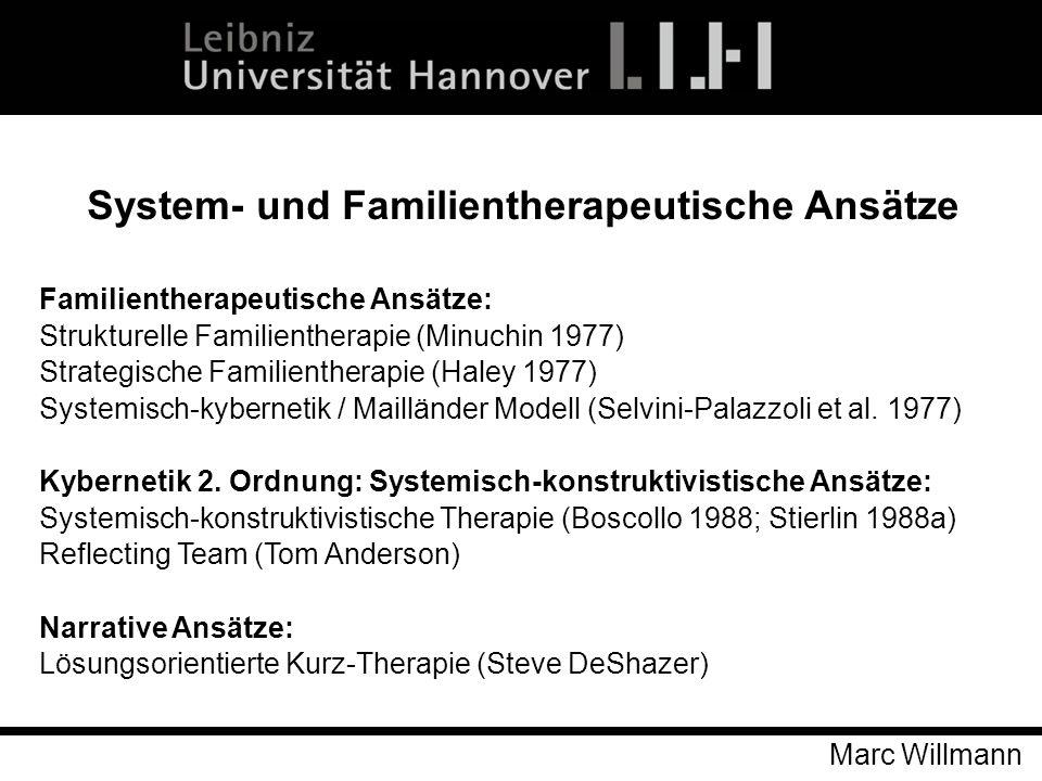 Marc Willmann Familientherapeutische Ansätze: Strukturelle Familientherapie (Minuchin 1977) Strategische Familientherapie (Haley 1977) Systemisch-kybe