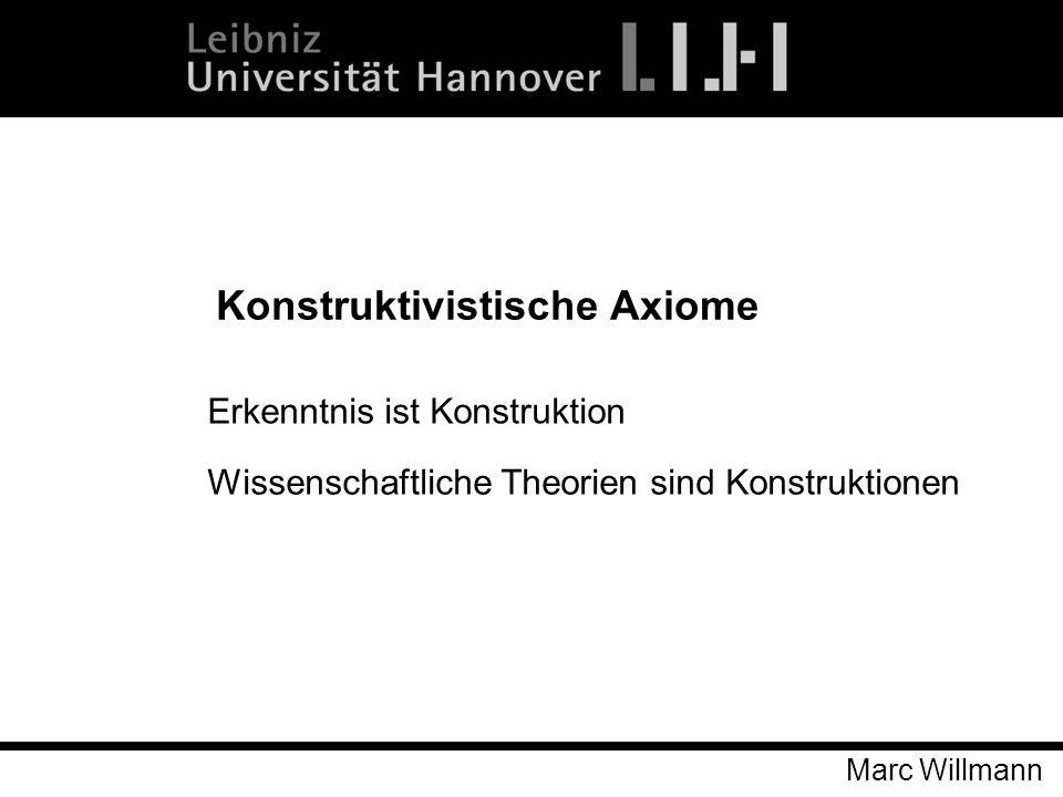 Marc Willmann Konstruktivistische Axiome Erkenntnis ist Konstruktion Wissenschaftliche Theorien sind Konstruktionen