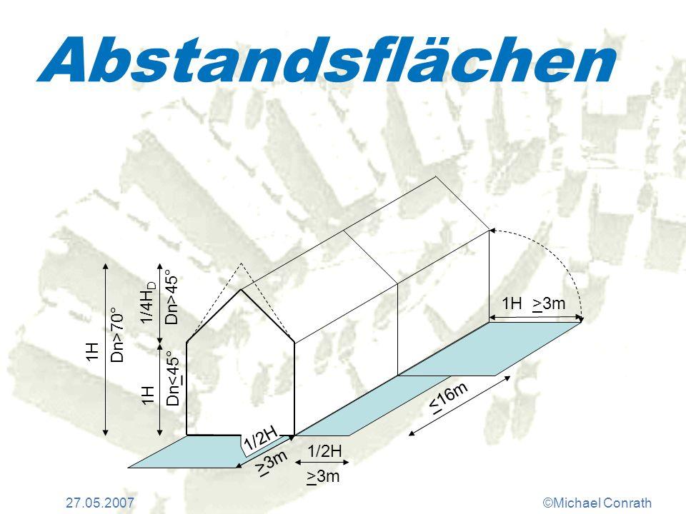 27.05.2007©Michael Conrath Abstandsflächen 1H >3m 1/2H >3m <16m 1H Dn<45° 1/4H D Dn>45° 1H Dn>70° 1/2H >3m