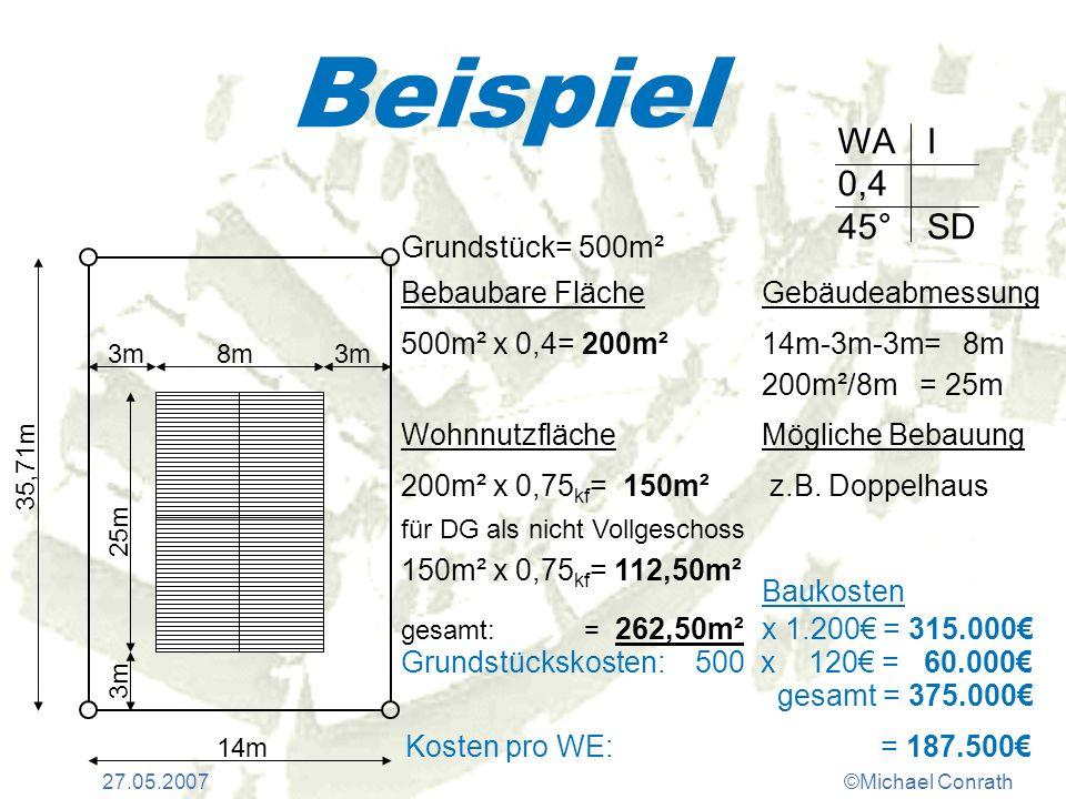27.05.2007©Michael Conrath Beispiel WA 0,4 45° I SD Grundstück= 500m² Bebaubare Fläche 500m² x 0,4= 200m² Wohnnutzfläche 200m² x 0,75 kf = 150m² für D