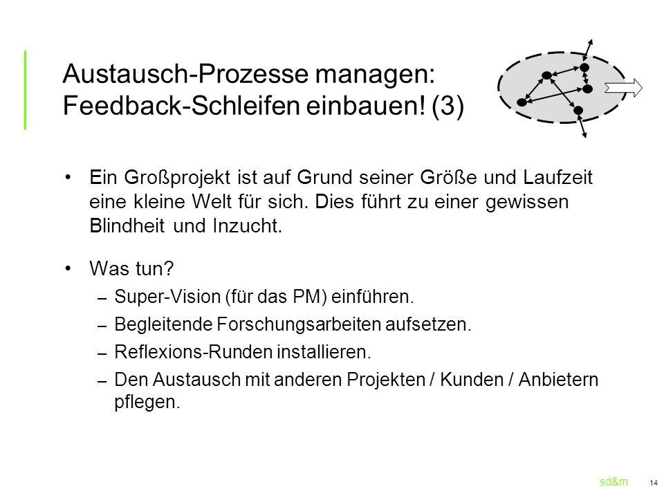 sd&m 14 Austausch-Prozesse managen: Feedback-Schleifen einbauen! (3) Ein Großprojekt ist auf Grund seiner Größe und Laufzeit eine kleine Welt für sich