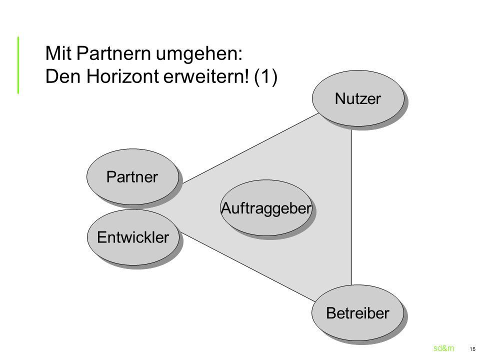 sd&m 15 Mit Partnern umgehen: Den Horizont erweitern! (1) Entwickler Partner Auftraggeber Betreiber Nutzer