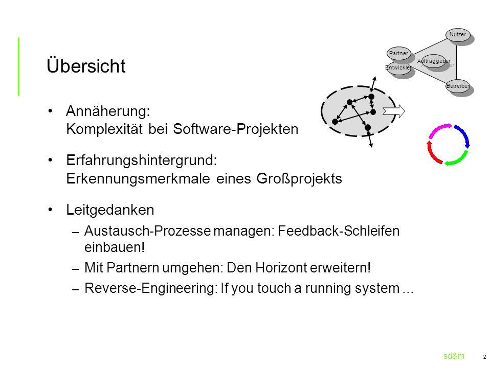 sd&m 2 Übersicht Annäherung: Komplexität bei Software-Projekten Erfahrungshintergrund: Erkennungsmerkmale eines Großprojekts Leitgedanken – Austausch-